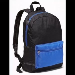 Old Navy Color Block Canvas Backpack Black Blue